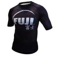Fuji IBJJF Short Sleeve Ranked Rash Guard Black